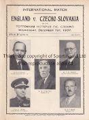 ENGLAND / CZECHOSLOVAKIA / SPURS Four page programme England v Czechoslovakia 1/12/1937 at White