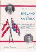 ENGLAND / AUSTRIA / CHELSEA Programme England v Austria 7/12/1932 at Stamford Bridge. Ex Bound