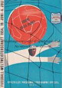 WORLD CUP 1954 Programme England v Belgium 17/6/1954 World Cup Group match in Basel. No writing.