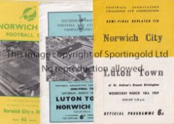 NORWICH Eight Norwich City programmes from their FA Cup run of 1958/59 which took them to the Semi