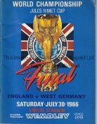 WORLD CUP FINAL 1966 Original programme England v West Germany World Cup Final 30/7/1966. Teams,