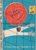 WORLD CUP 1954 Programme England v Switzerland 20/6/1954 World Cup Group match in Bern. Team