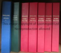 BINDERS Seven Binders made by DJ Bookbinders. 5 England homes (red) , 1 England Aways (Blue) and one