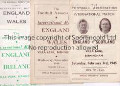 ENGLAND / ASTON VILLA Three England home programmes at Villa Park v Scotland 1945 vertical fold),