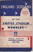 ENGLAND / SCOTLAND Programme England v Scotland at Wembley 4/4/1936. Centre pages detached. Staple