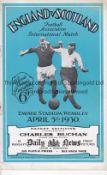 ENGLAND / SCOTLAND Programme England v Scotland at Wembley 5/4/1930. Very light staple rust. No