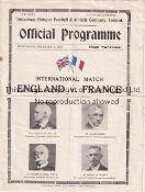 ENGLAND / FRANCE / SPURS Four page programme England v France 6/12/1933 at White Hart Lane (