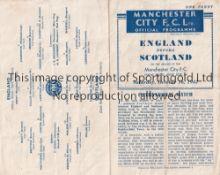 ENGLAND / SCOTLAND / MAN CITY Four page programme England v Scotland 16/10/1943 at Maine Road (
