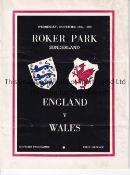 ENGLAND Home programme v Wales played at Roker Park, Sunderland 15/11/1950. Light horizontal