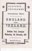 ENGLAND / IRELAND / EVERTON SIGNED Programme at Goodison Park 5/11/1947 signed by all 11 Irish