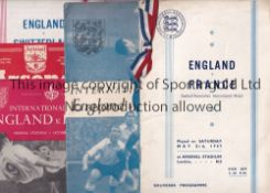 ENGLAND / ARSENAL Six England home programmes at Highbury v France 1947 (with red white and blue