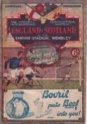 ENGLAND / SCOTLAND Programme England v Scotland at Wembley 9/4/1932. Centre pages detached. Staple