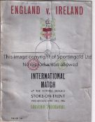 ENGLAND / WALES / STOKE Programme England v Wales 5/2/1936 at the Victoria Ground, Stoke. Vertical