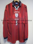 LE SAUX WORLD CUP SHIRT Signed Graeme Le Saux match worn shirt from the England V Columbia World Cup