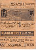ENGLAND / WALES / WOLVES Programme England v Wales 5/2/1936 at Molyneux ( Wolverhampton Wanderers ).
