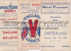 ENGLAND Three England home programmes v France 1945, Belgium 1946 both at Wembley and Switzerland at