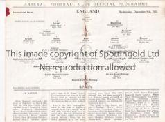 ENGLAND / SPAIN / ARSENAL Programme England v Spain 9/12/1931 at Highbury. Light horizontal fold.