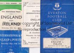 ENGLAND / EVERTON Four England home programmes all at Goodison v Ireland 1949, Portugal (FOB)