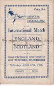 ENGLAND / SCOTLAND / MAN UNITED Programme England v Scotland 17/4/1926 at Old Trafford (