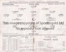 ENGLAND / HUNGARY / ARSENAL Programme England v Hungary 2/12/1936 at Highbury. Light horizontal