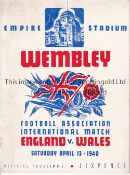 ENGLAND / WALES Programme England v Wales 13/4/1940 at Wembley.Some foxing. No writing. Generally