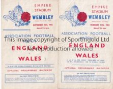 ENGLAND / WALES Two England v Wales wartime programmes at Wembley 27/2/1943 (folds) and 25/9/1943 (