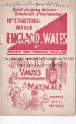 ENGLAND / WALES / MIDDLESBROUGH Programme England v Wales 17/7/1937 at Ayresome Park. Vertical fold.
