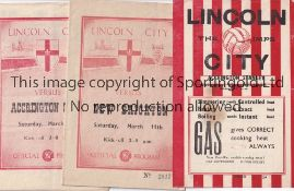 LINCOLN Three home programmes v Accrington Stanley 4/5/1946 (4 Page), New Brighton 1949/50 and