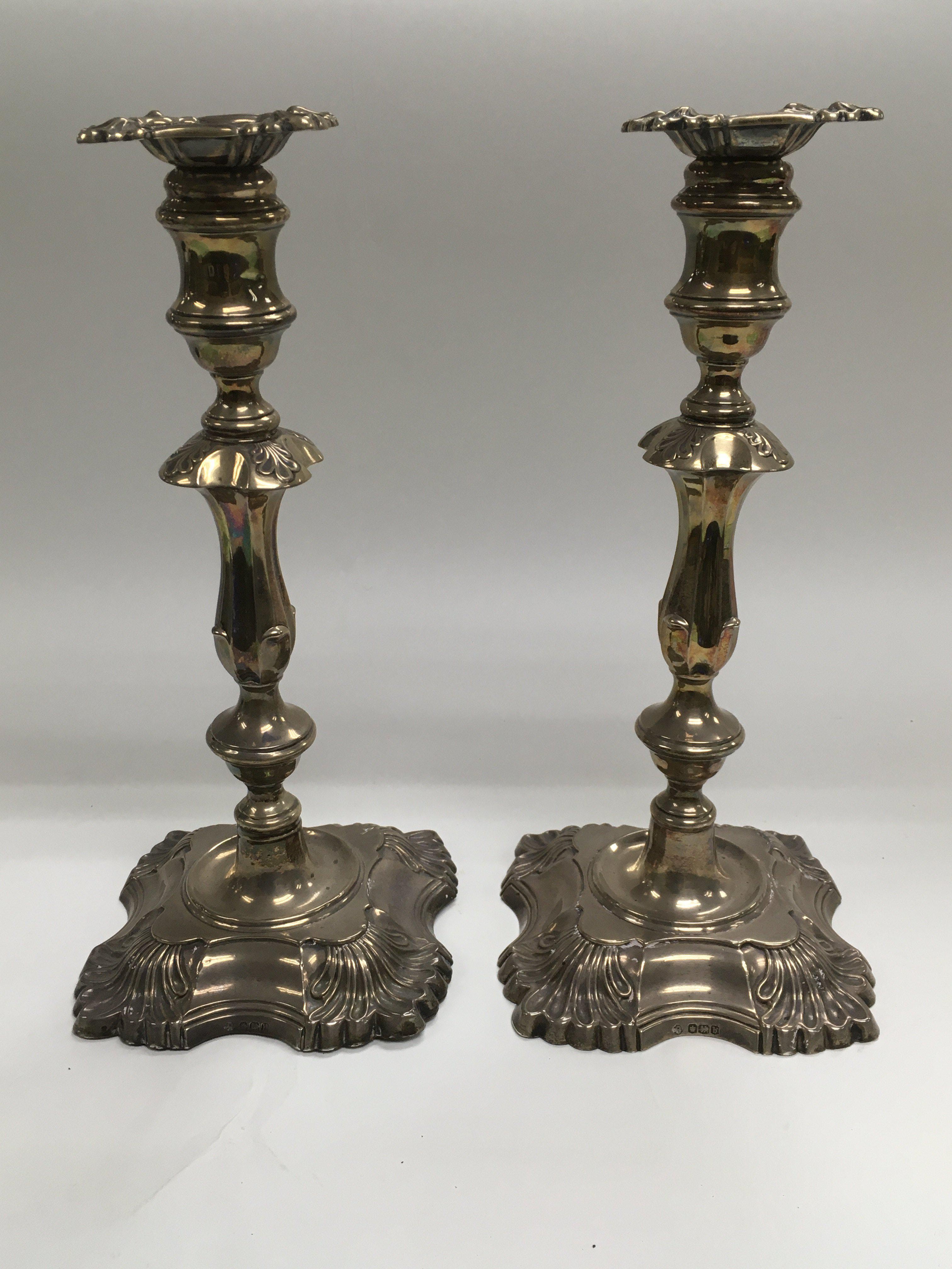 Lot 47 - A pair of silver candlesticks, Sheffield hallmarks