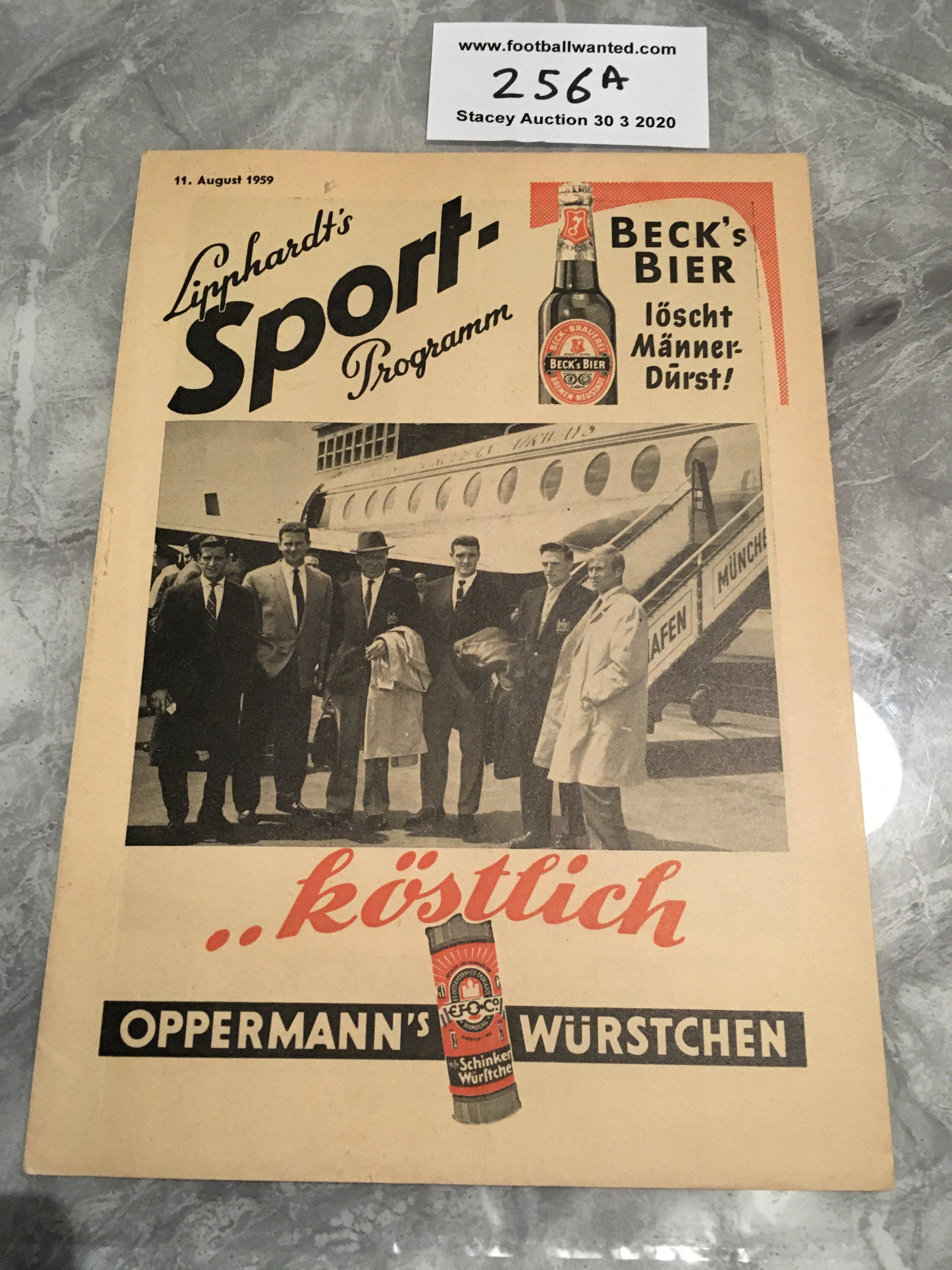 Lot 256A - 59/60 Hamburg v Manchester United Football Programme: Excellent condition dated 11 8 1959 with no