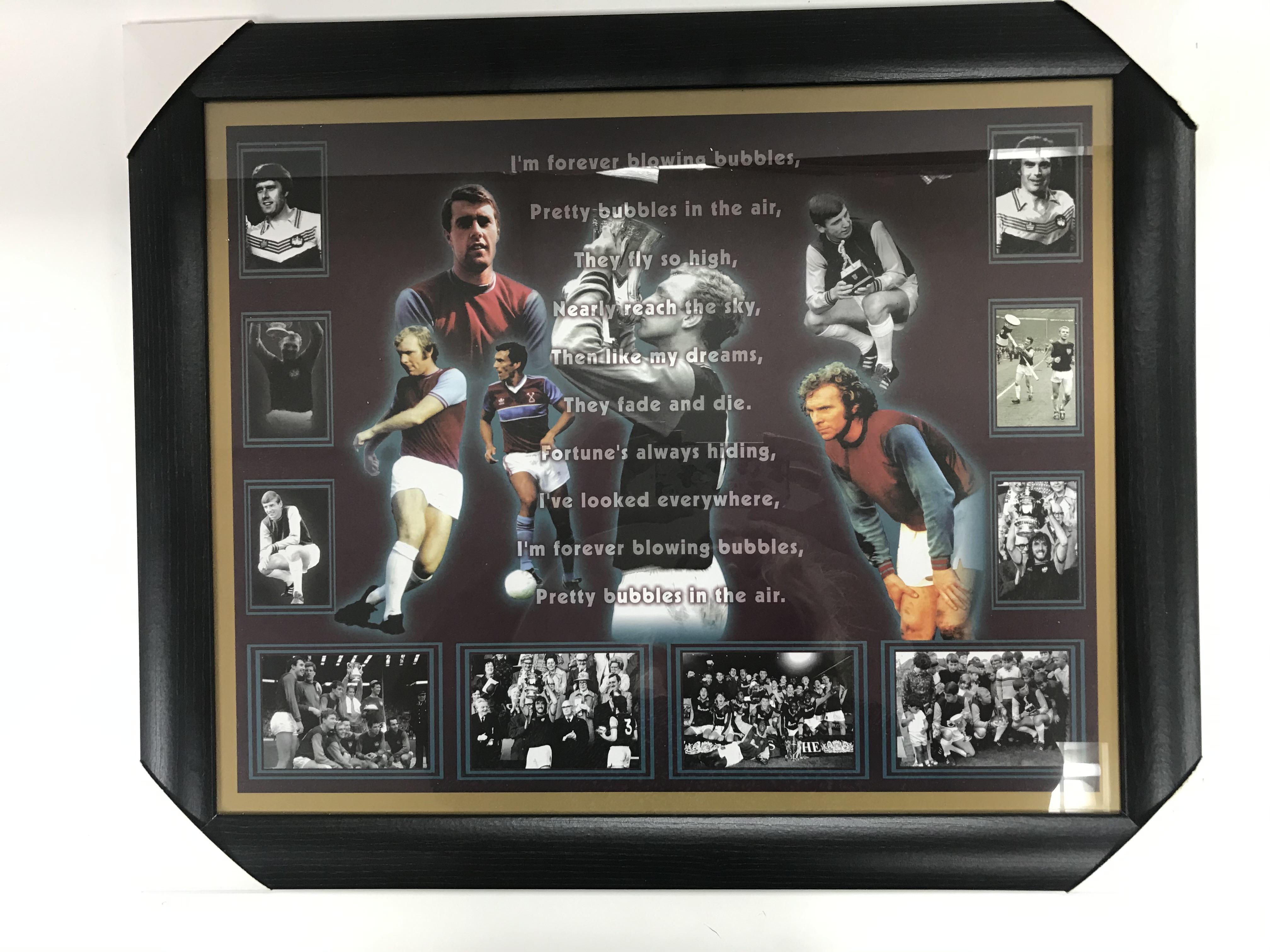 Lot 19 - A framed West Ham montage depciting West Ham legends