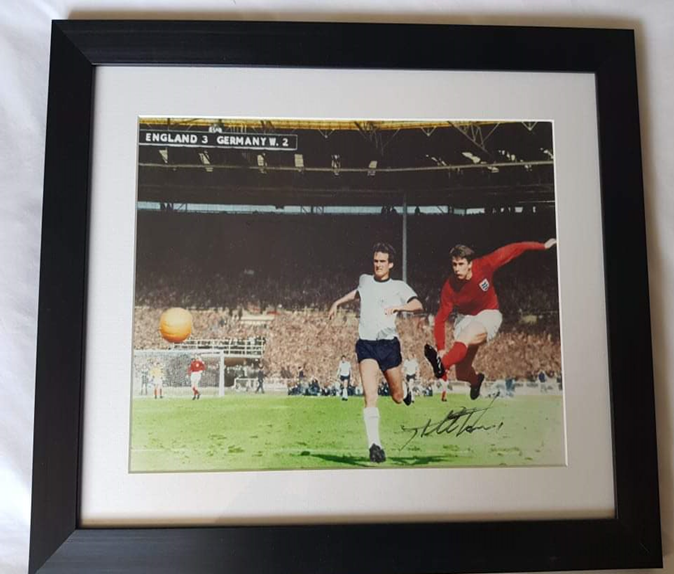 """Lot 7 - Signed Geoff Hurst 66 World Cup Picture - Signed """"4th Goal"""" photo - England V Germany World Cup"""