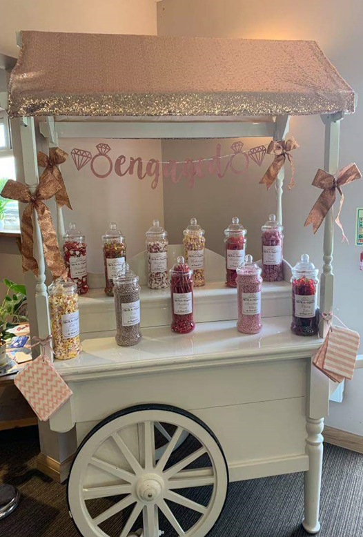 Lot 5 - Sweet cart filled with Sweets from Dotties - beautifully decorated sweet cart, including jars full