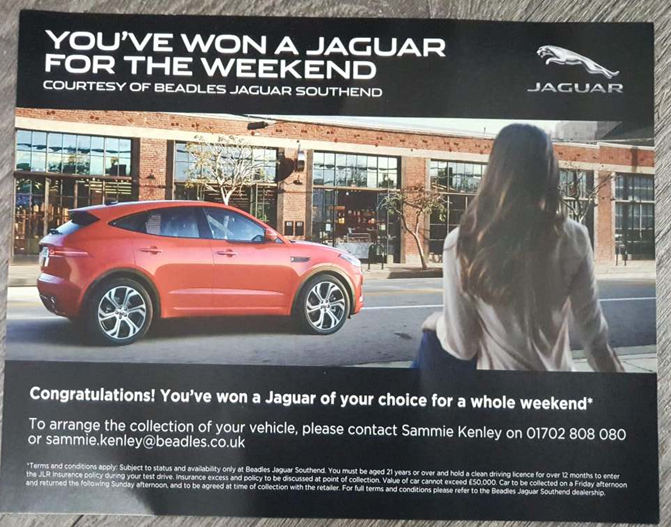 Lot 1 - Beadles Jaguar/Land rover for a weekend - Beadles Jaguar Southend are thrilled to supply the