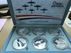 A cased set of coins six Royal Air Force bomber co