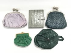Four leather purses including Clark's and Topshop