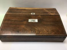A Edwardian rosewood writing slope With brass inla