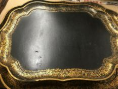 Two Victorian lacquered trays - NO RESERVE