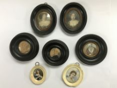 A collection of miniatures, two in ivory frames, s