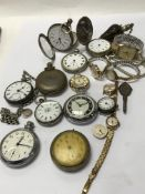 A box of mixed watches and pocket watches with 1 b