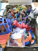 A collection of He man figures with accessories (2