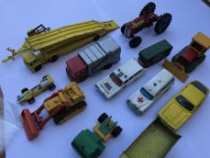 A collection of of playworn Dinky, matchbox toys a