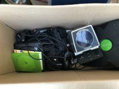 A box containing a x box, mega drive consoles etc.