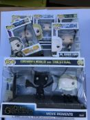 A box containing a collection of pop figures.