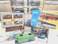 A collection boxed toy cars and busses various.(17
