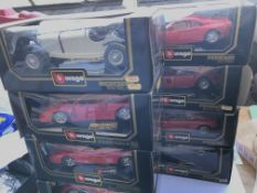 A collection of boxed Burago cars(8)