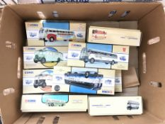 A collection of classic diecast busses. (10)