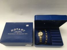 A boxed ladies rotary wrist watch gift set