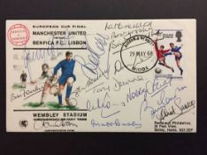 1968 European Cup Final Manchester United v Benfica Signed FDC: Signed by 11 Manchester United