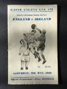 George Bests First Team Line Up In A Football Programme: Youth International programme England v